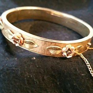 Vintage Krementz Gold-filled Rose bangle bracelet.